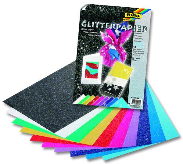 Скрабук глитер хартия - комплект 10 цв. 23Х33 см.