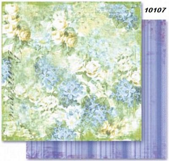 FB Flowers 07 - Дизайнерски картон с ембос-глитер елементи - 30,5 Х 30,5 см.