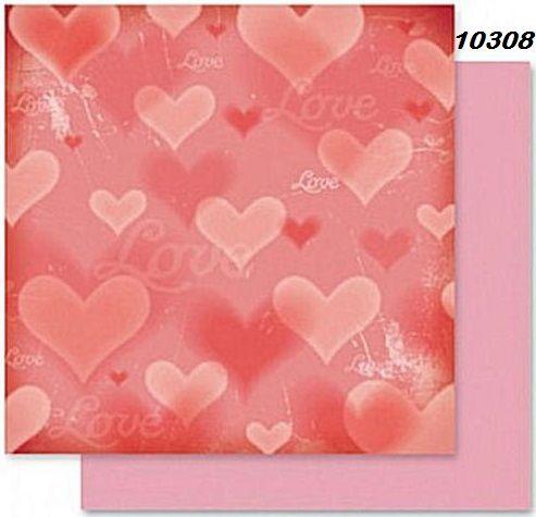 FB Romance 08 - Дизайнерски картон с ембос-глитер елементи - 30,5 Х 30,5 см.
