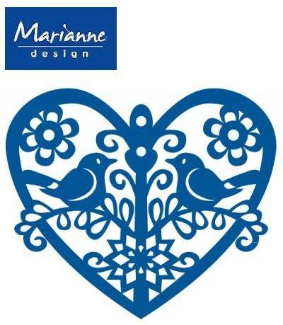 LOVE BIRDS HEART by Marianne Design - Шаблон за рязане