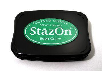 StazOn, Solvet ink pad - Тампон с мастило за твърди и неабсорбиращи повърхности - Eden green
