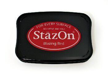 StazOn, Solvet ink pad - Тампон с мастило за твърди и неабсорбиращи повърхности - Blazing red