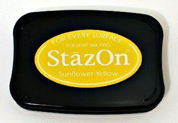 StazOn, Solvet ink pad - Тампон с мастило за твърди и неабсорбиращи повърхности - Sunflower yellow