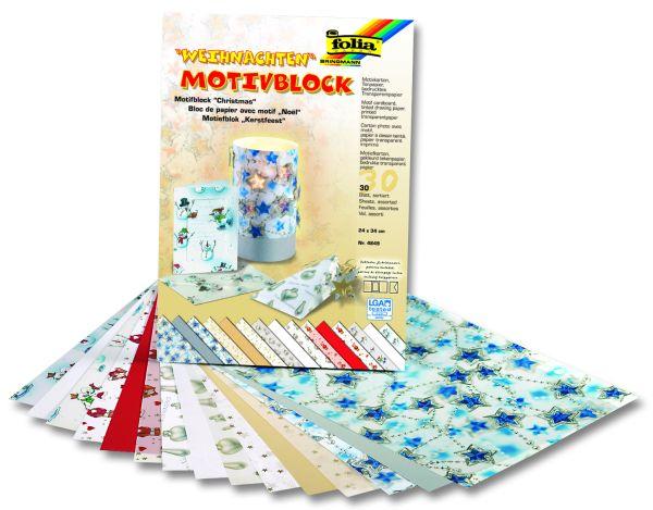 MOTIFBLOCK X-MAS 1 - Скрапбукинг комплект 30бр картони - ЗИМА1