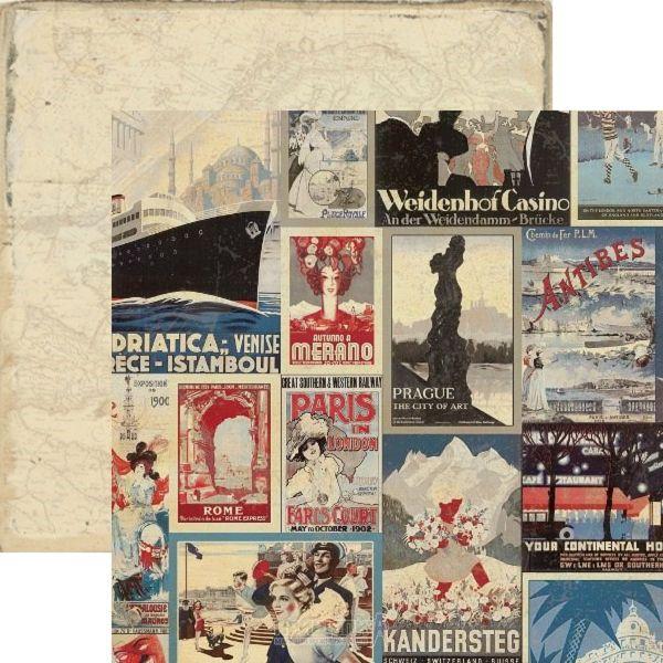 AUTHETIQUE USA # ABROAD - Дизайнерски двустранен картон  30,5 Х 30,5 см.