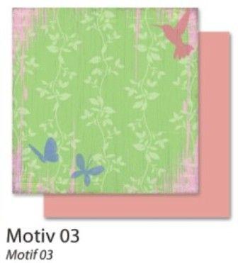 FB Flowers 03 - Дизайнерски картон с ембос-глитер елементи - 30,5 Х 30,5 см.