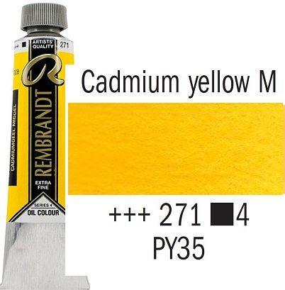 REMBRANDT Екстра Фини Маслени Бои 40 мл. - Cadmium Yellow Medium 4, № 271