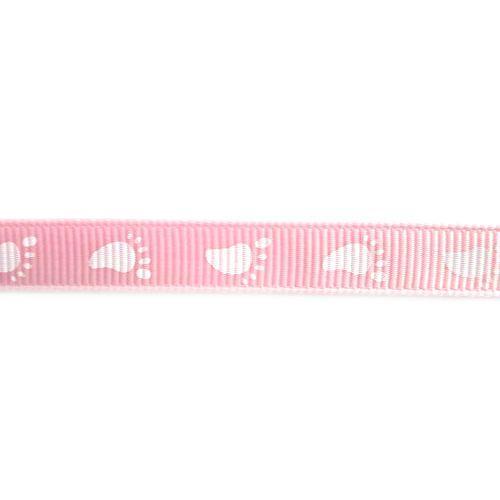 Baby Foot Print Design Ribbon - Pink/White 10mm  - Панделка  ролка 10 mm. X 5m.