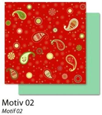 FB Christmas 02 - Дизайнерски картон с ембос-глитер елементи - 30,5 Х 30,5 см.