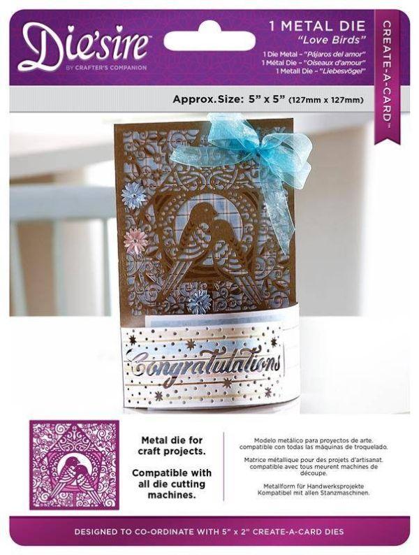 Die'sire Create a Card - LOVE BIRDS Щанца картичка