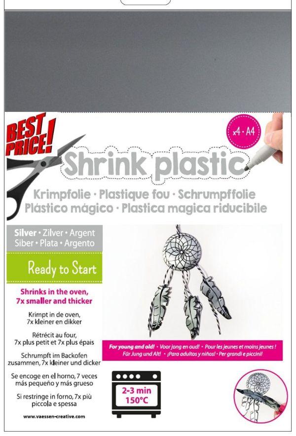 SHRINK PLASTIC A4 / 4бр - Шринк пластмаса  # SILVER - СРЕБРО