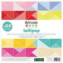 "ARTEMIO SCRAP BLOCK 180SH - Дизайнерски блок 12""х12"" / 180листа LOLIPOP"