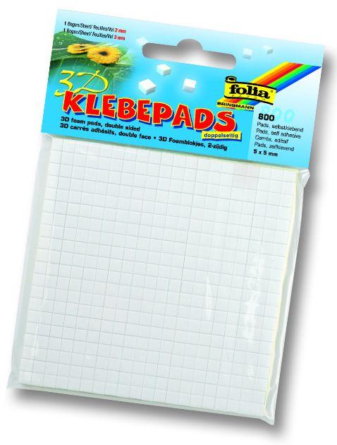 ADHESIVE PADS FOLIA - 3Д двойно лепящи квадратчета - 2mm и 3мм / 800 бр.