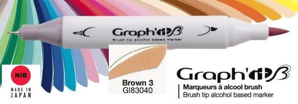 # GRAPH IT BRUSH MARKER - Двувърх дизайн маркери ЧЕТКА - BROWN 3