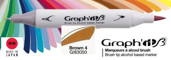 # GRAPH IT BRUSH MARKER - Двувърх дизайн маркери ЧЕТКА - BROWN 4