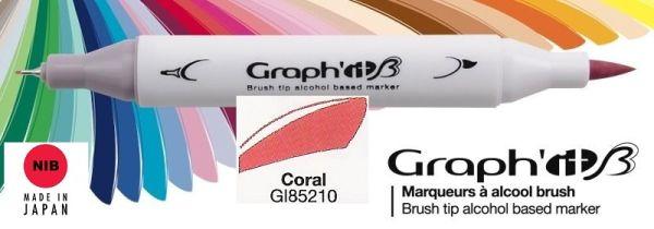 # GRAPH IT BRUSH MARKER - Двувърх дизайн маркери ЧЕТКА - CORAL