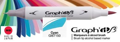 # GRAPH IT BRUSH MARKER - Двувърх дизайн маркери ЧЕТКА - CYAN