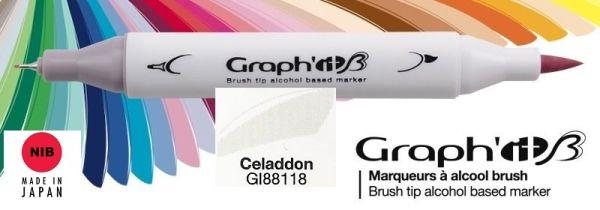 # GRAPH IT BRUSH MARKER - Двувърх дизайн маркери ЧЕТКА - CELADDON
