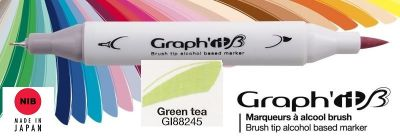 # GRAPH IT BRUSH MARKER - Двувърх дизайн маркери ЧЕТКА - GREEN TEA