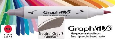 # GRAPH IT BRUSH MARKER - Двувърх дизайн маркери ЧЕТКА - NEUTRAL GREY 7