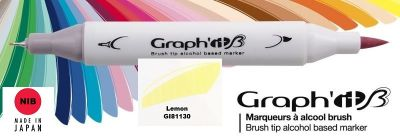 # GRAPH IT BRUSH MARKER - Двувърх дизайн маркери ЧЕТКА - LEMON