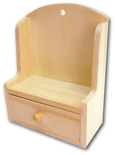 DECORABILIA - Дървена етажерка с чекмедже 13x6,5x17cm.