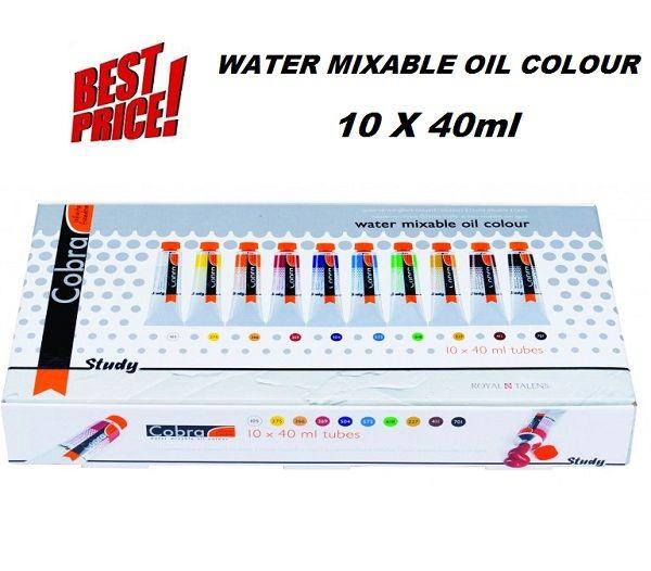 COBRA STUDY H2Oil Talens - Водоразтворими маслени бои  к-кт 10цв x 40ml