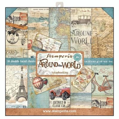 """STAMPERIA Double Face Sheets 10 Pack  - Дизайнерски блок 12""""x12"""" / AROUND THE WORLD"""