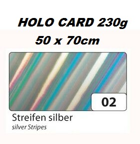HOLOGRAPHIC CARD 230g  50х70см  - Холорафски картон SILVER STRIPES