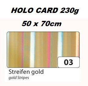 HOLOGRAPHIC CARD 230g  50х70см  - Холорафски картон GOLD STRIPES