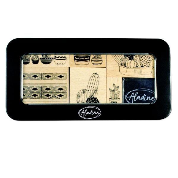 Дизайнерски к-кт гумени печати на дървено блокче + тампон в метална кутия, Aladine