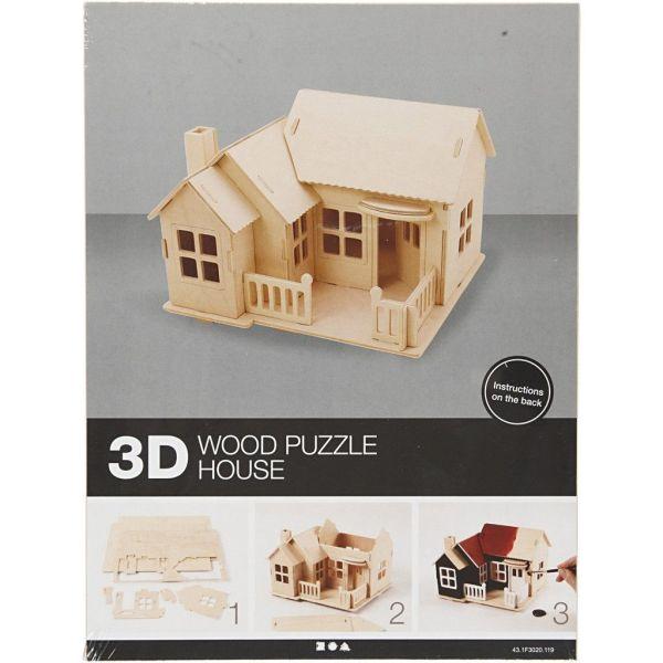 3D Wood Construction Kit HOUSE WITH TERRACE - Дървен конструктор 19x17.5x15