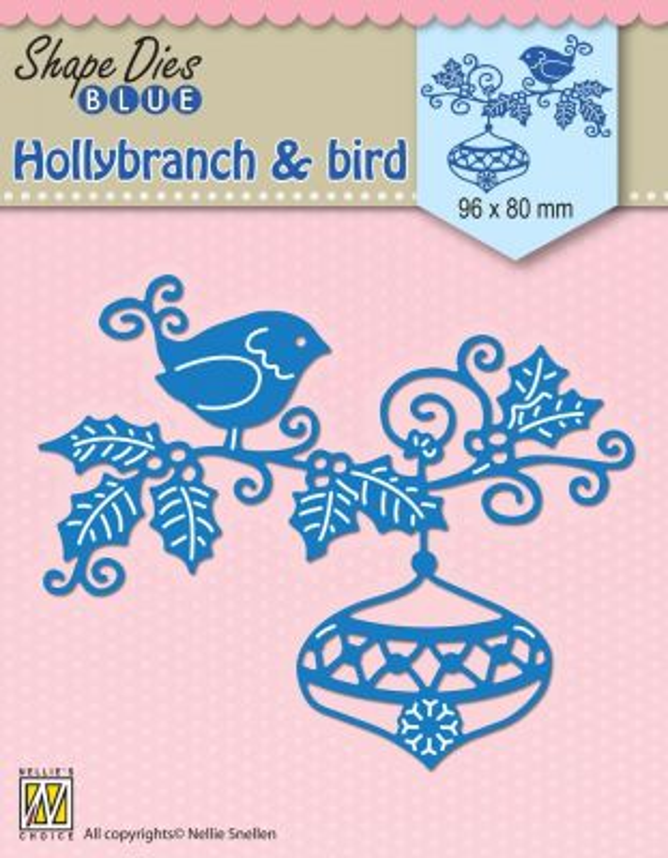 "SHAPE DIES ""Holly, bauble & bird"" (96x80mm)  - Щанци за рязане и релеф SDB064"