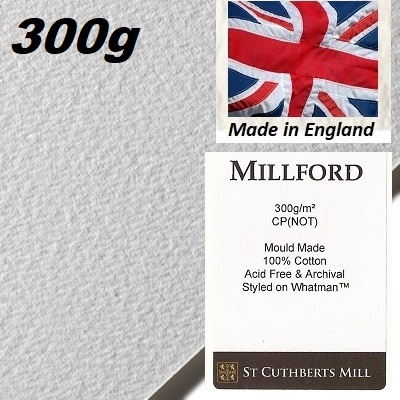 """MILLFORD """"WHATMAN""""  WATERCOLOUR PAPER 300g 76 x 56 - Професионален акварелен ръчен картон 100% памук  # Made in England"""