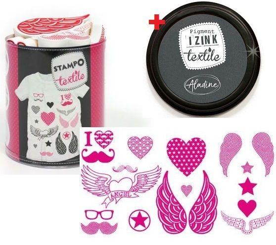 ALADINE STAMPO TEXTILE - Комплект печати+тампон за текстил 05251
