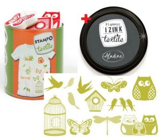 ALADINE STAMPO TEXTILE  - Комплект печати+тампон за текстил 05253