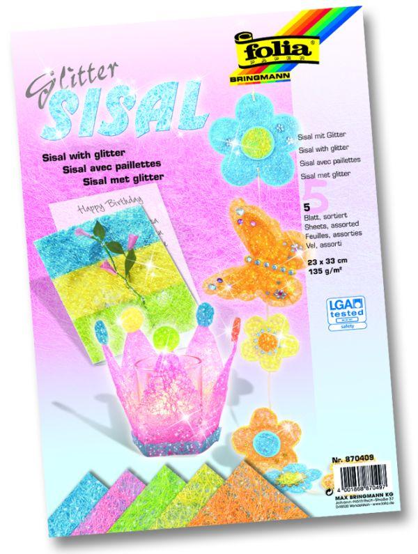 Сизал  листи - 23 х 33 см. 5 пастелни цвята с глитер