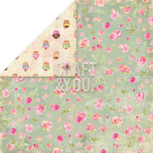 CRAFT&YOU # TEA TIME - Дизайнерски скрапбукинг картон 30,5 х 30,5 см.