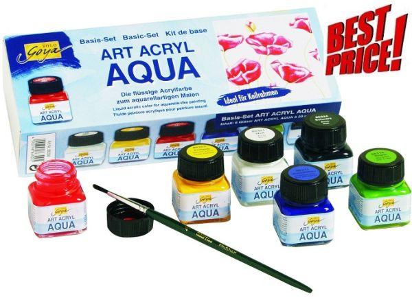 # ART ACRYL AQUA - К-кт течни акрилни живописни бои 6 цв
