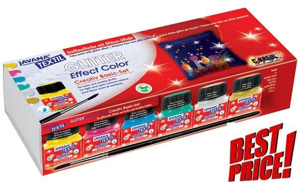 # JAVANA GLITTER EFFEKT - К-кт брокатени бои за рисуване върху текстил № 92250