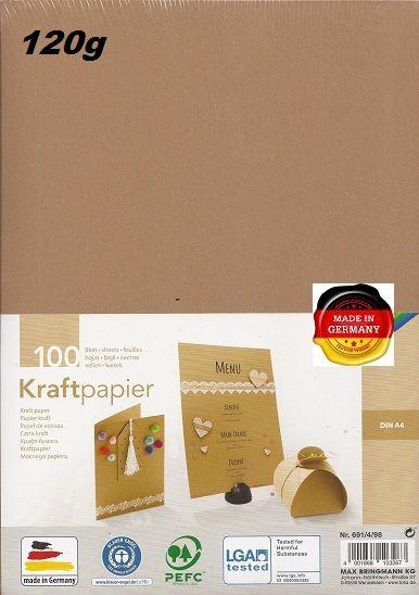 KRAFT PAPER 120g - Крафт хартия А4 120 гр / пакет 100 листа