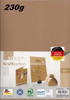 KRAFT KARTON 230g - Крафт картон А4 230 гр / пакет 50 листа