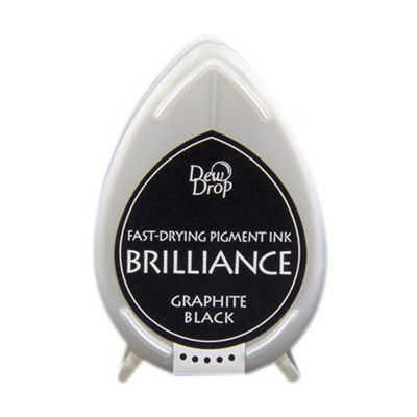 BRILLIANCE DewDrop Pigmet Ink, Japan - Тампон с бързо съхнещо мастило - GRAPHITE BLACK