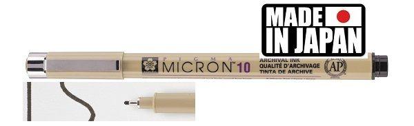 PIGMA MICRON 10 Japan - Профи пигментен тънкописец BLACK