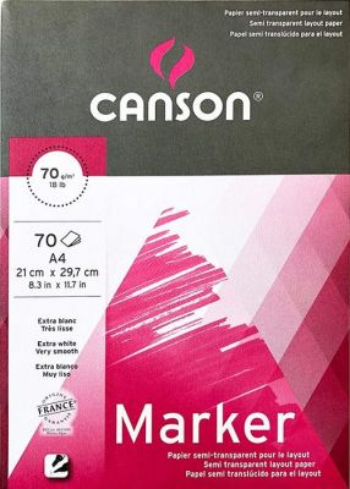 # MARKER PAD CANSON XL A4 -  Блок за MARKER рисуване 70 листа / А4
