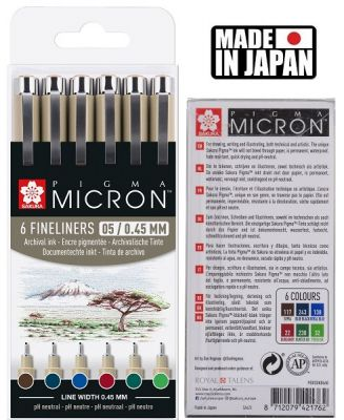 PIGMA MICRON 05 EARTH SET Japan - Профи комплект тънкописци 6цв ЗЕМНИ