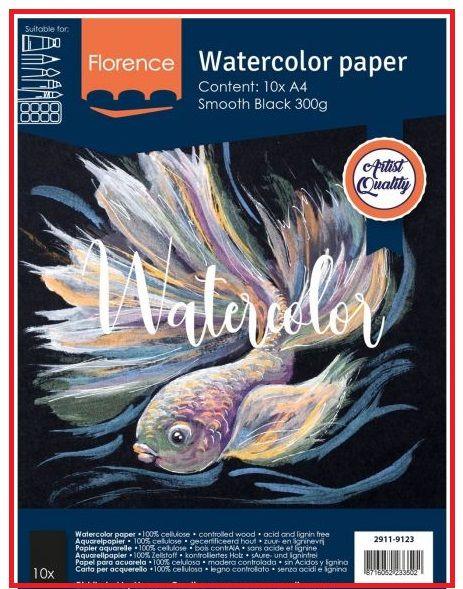 FLORENCE WATERCOLOUR PAPER 300g - АКВАРЕЛНА ХАРТИЯ A4 10л BLACK