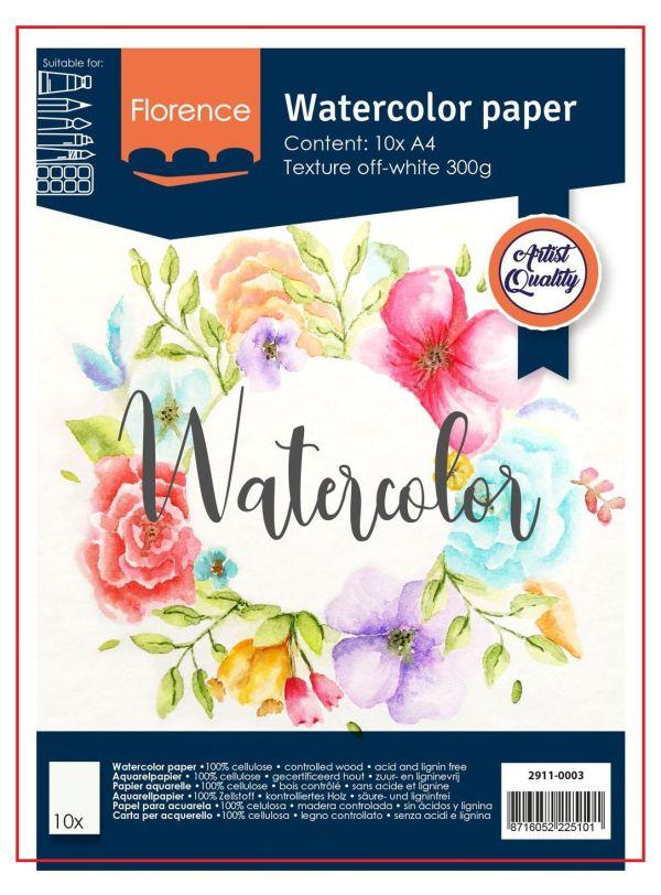 FLORENCE WATERCOLOUR PAPER 300g - АКВАРЕЛНА ХАРТИЯ A4 10л