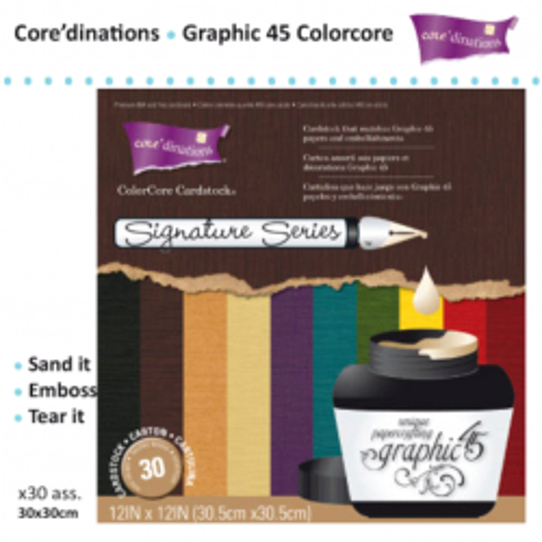 "Graphic 45  SIGNATURE - Дизайнерски блок COLORCOR картони 12'х12"" / 30листа"