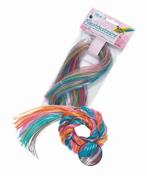 FOLIA FLECHTSCHNURE BROCADE - Силиконови шнурове за плетене с глитер/брокат микс X 1 метър